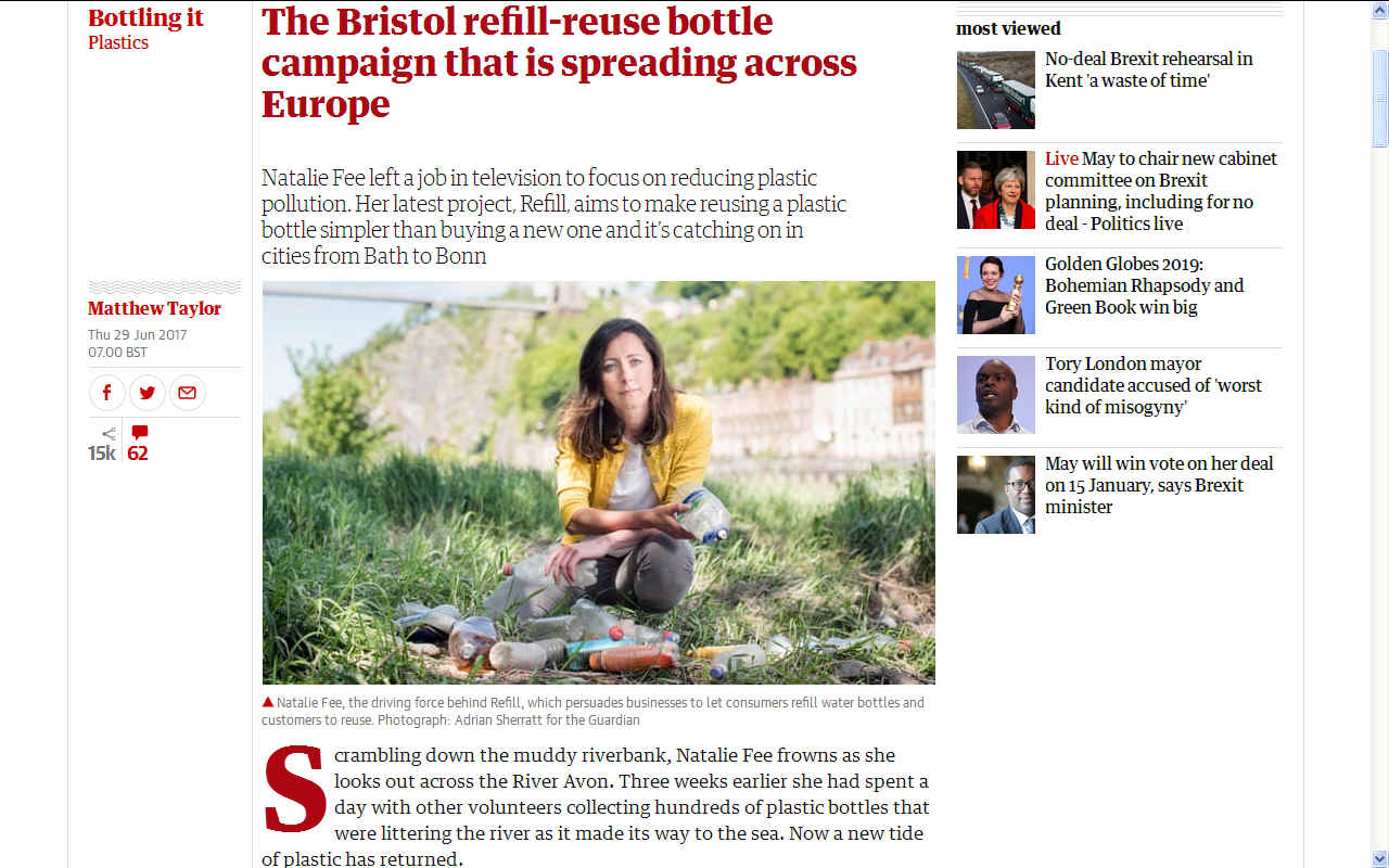 Natalie Fee refill  Bristol water bottle campaign Europe