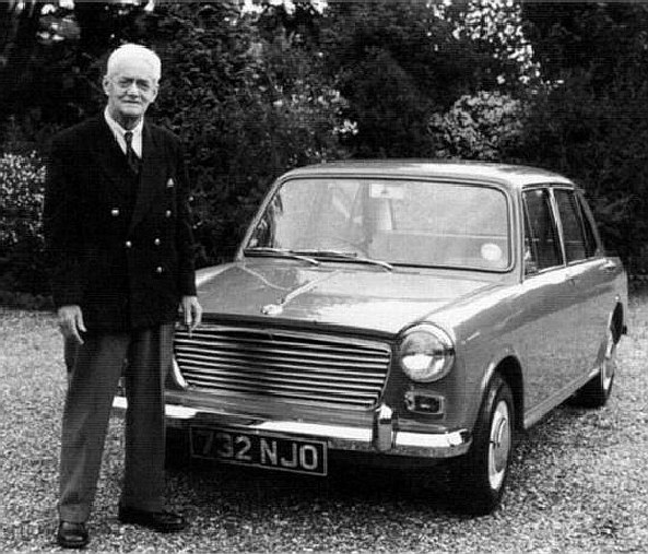 Lord Nuffield with a British Leyland Austin 1100