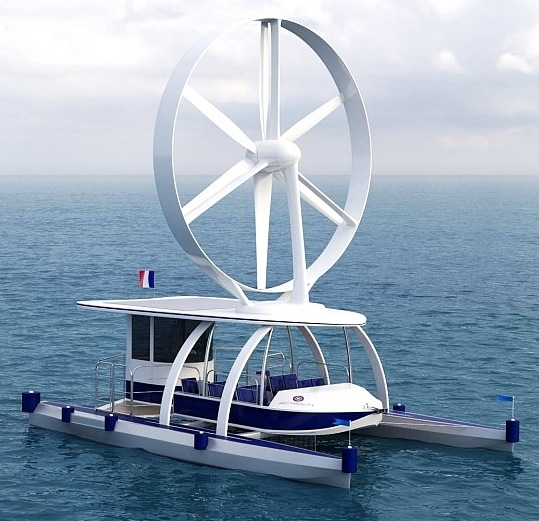Single rotary sail catamaran from Charles-Henri Viel, a proponent of wind turbines