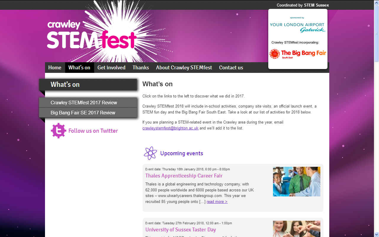Crawley Stemfest and the Big Bang Fair