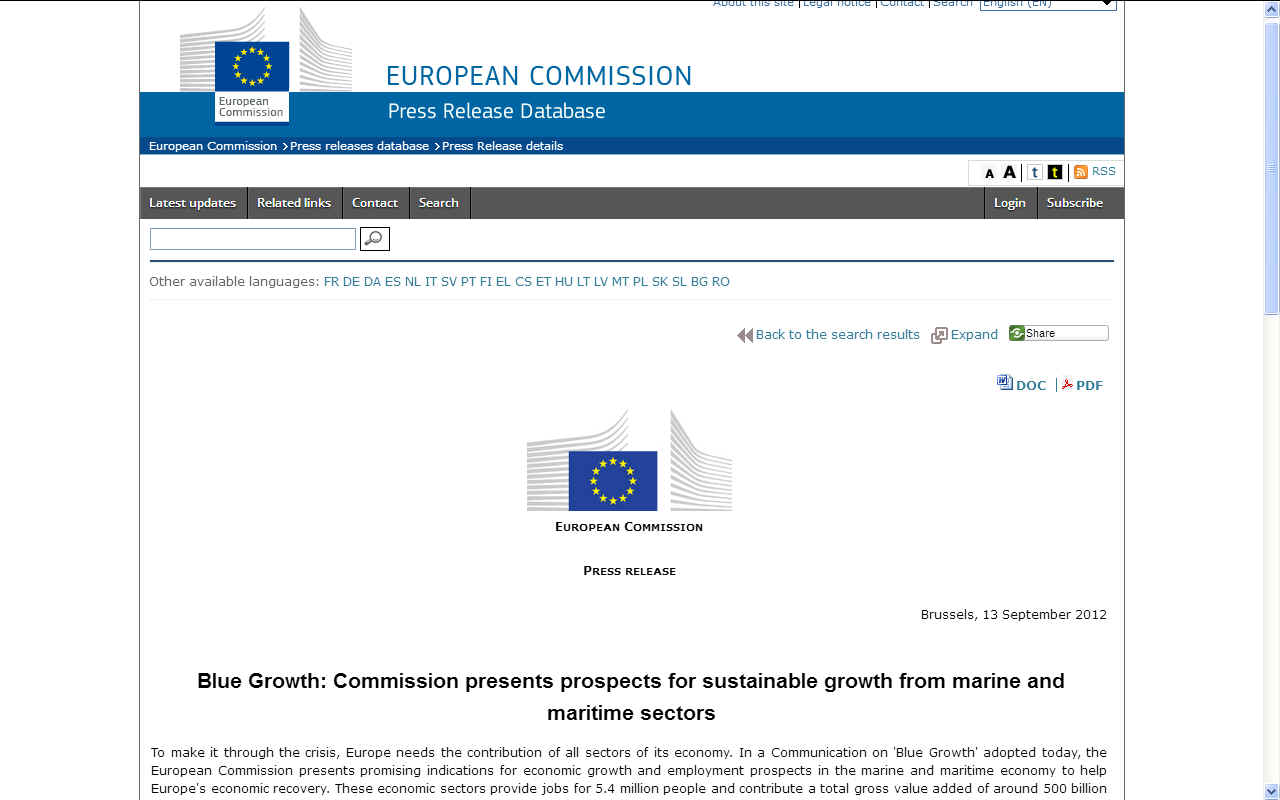 European Commission Press Release 2012 on Blue Growth