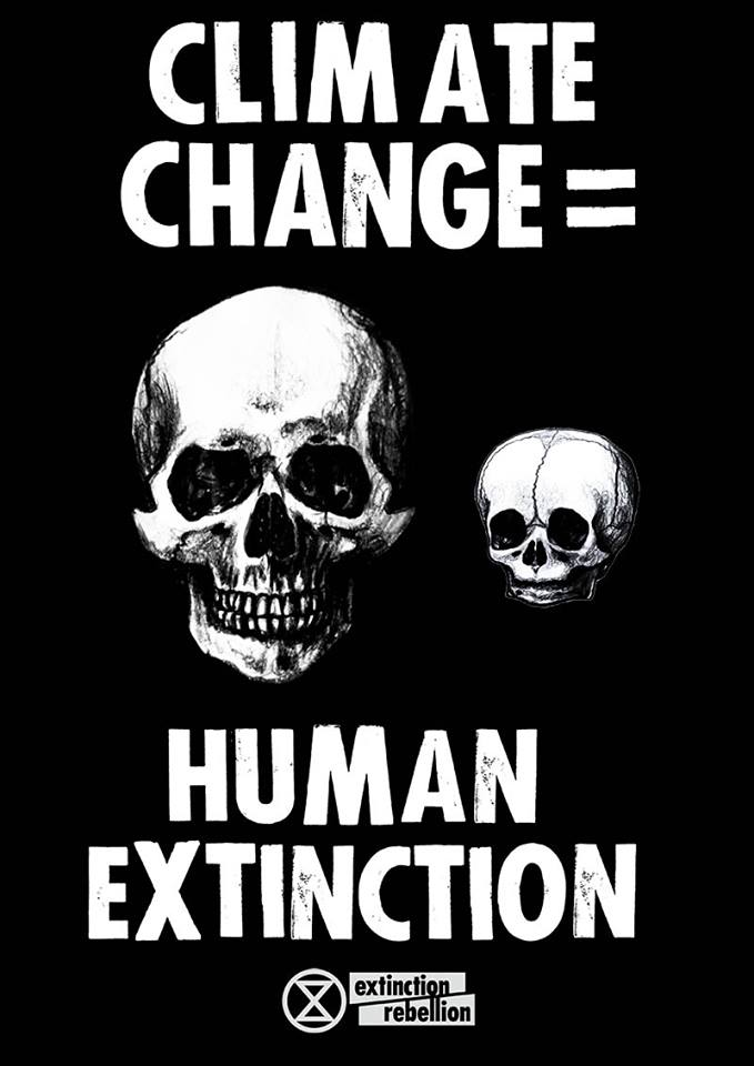 Climate change extinction of humans of earth