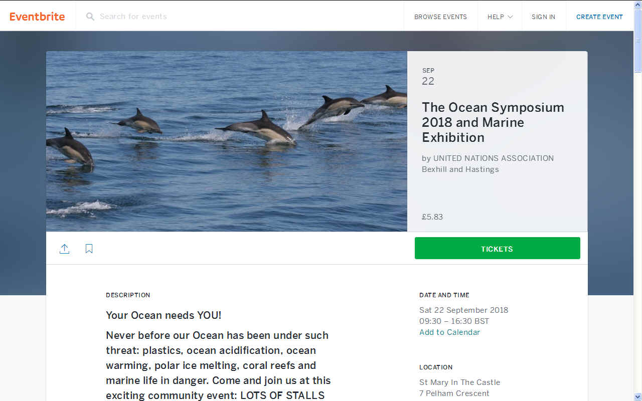 Eventbrite Ocean Symposium Hastings UNA Bexhill September 22nd 2018