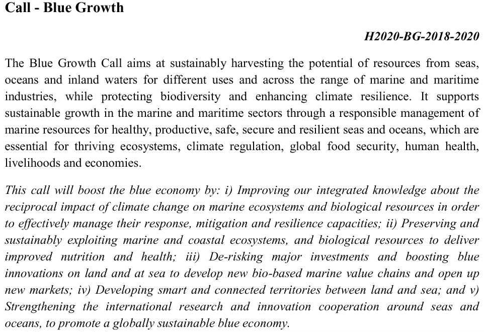 Blue growth call H2020-BG-2018-2020 European Commission
