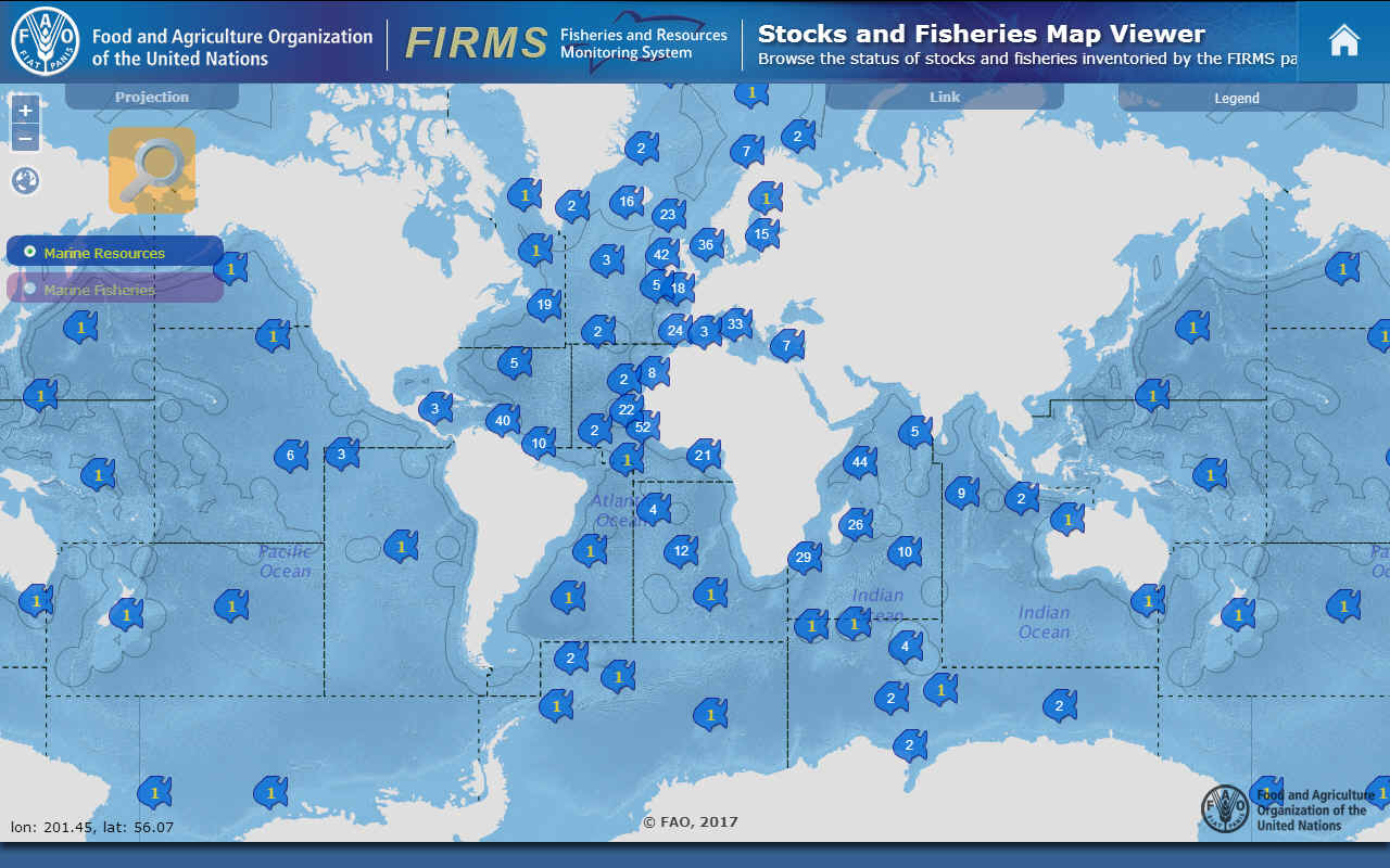 Food and Agriculture Organization map of fish around the world